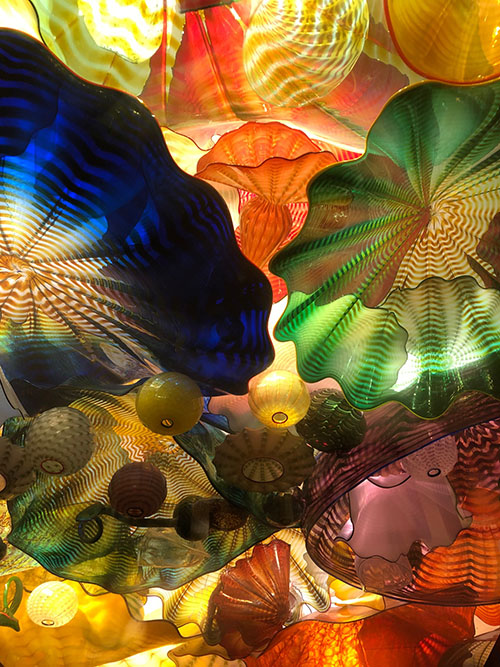 Chihuly glass sculptures in the ceiling...