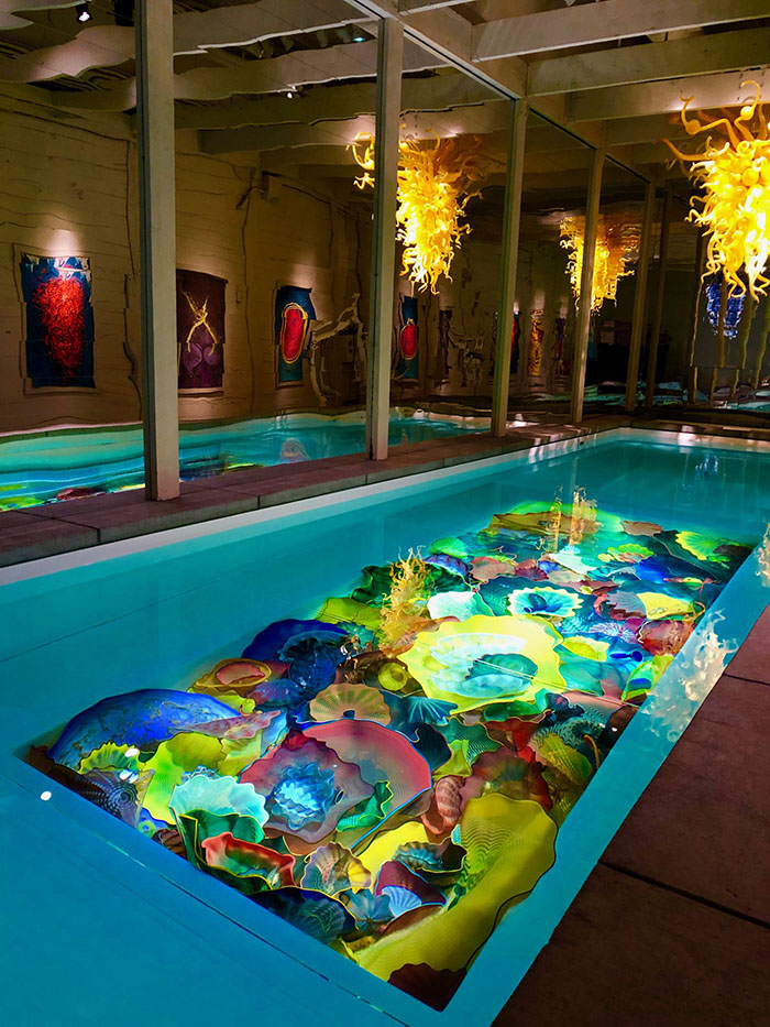 Chihuly sculptured glass within swimming pool