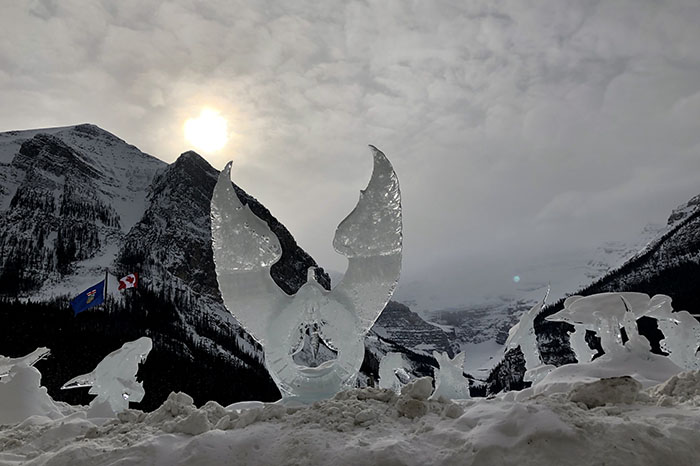 Ice sculptures, Lake Louise