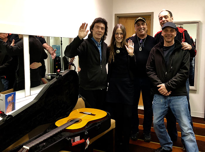 Steve receiving guitar from the Lord Alge brothers