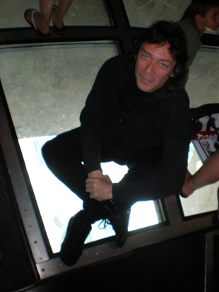 Steve on the glass floor at the CN Tower, Toronto