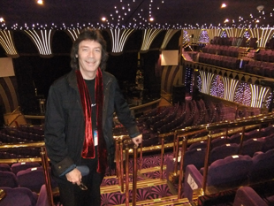 Steve in the ship's sparkling indoor venue before the show