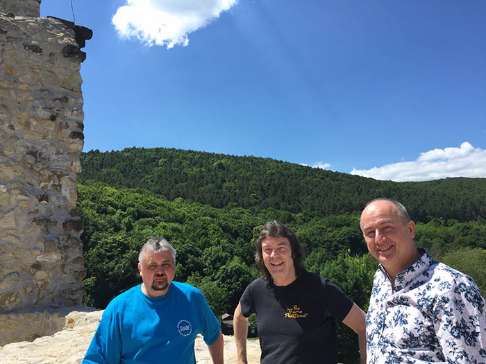 Attila, Steve and Ben on the castle battlements, Miskolc