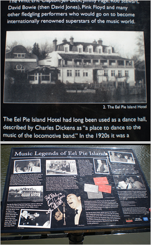 Info about the old hotel on Eel Pie on a board showing scenes from Eel Pie's heady days