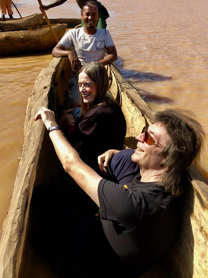 Seid, Steve and Jo in dug out canoe