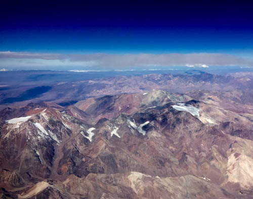 Magnificent Andes Mountains from the plane