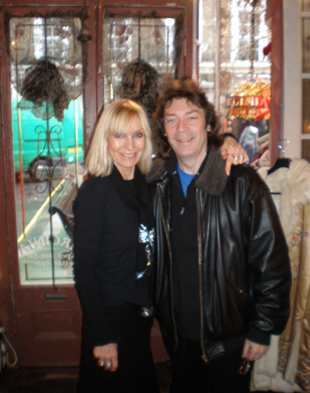 Virginia with Steve on a recent visit to her emporium