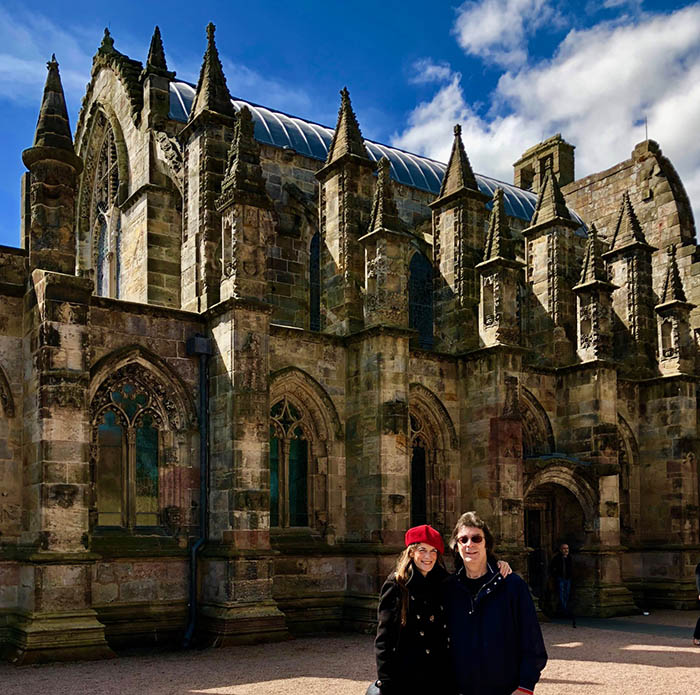 Jo and Steve at Rosslyn Chapel