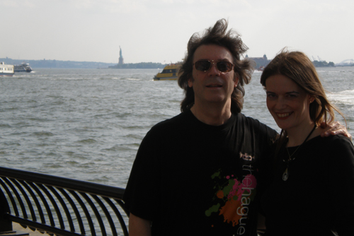 Steve with Jo and distant Statue of Liberty