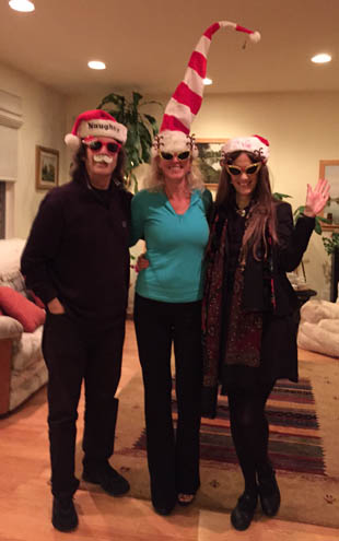 Steve, Leigh Harris and Jo all dressed for Christmas! Photo by Cheryl Gallo