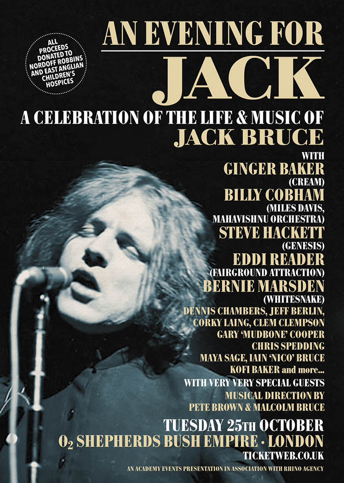 Steve to play in charity tribute to Jack Bruce on 25th October at the O2 Shepherds Bush Empire, London.
